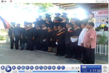 MSPM graduates pose for posterity together with Rev. Santiago after the Conferral Ceremony