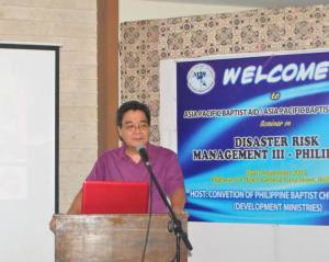 The author delivering the Closing Challenge. Photo Credit: Ms. Henna Baclagon, Director, Development Ministries, CPBC