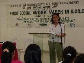 Prof. DZ Patriarca-Lariza, 2005 PASWI-Iloilo President, leads the Social Work Forum during the celebration of the 1st Social Work Week in Iloilo